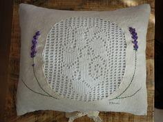 linen pillow ,, lavender,,  with lavender scent ( dried lavender flowers) Romantic, natural style *original hand made*- embroidery   *handwoven linen