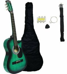 """Crescent MG38-GR-CA-2 38"""" Cutaway Acoustic Guitar Starter Package, Green by Crescent. $17.95. The 38-Inch Acoustic Guitar is a small-scale acoustic guitar that is not only affordable, but designed with the beginner player in mind. The smaller size makes it great for children or those with a smaller build, and the cutaway design makes it easy to access the higher frets. This 38-Inch beginner guitar comes outfitted with steel strings and a black pickguard. If you're looking for..."""