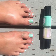 Hebrews 11:1 w/ Hebrews 13:2 over it. It made such a pretty pearl minty green color shifting almost to a light blue color. I 💚it, I keep staring at my toes! Check out all my colors at www.inspurrrations.com