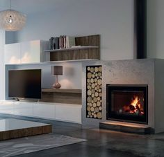 Best Photo Gas Fireplace bookshelves Concepts The weather conditions exterior can be scary, but your flames can be so enchanting! You might be looking towar. Fireplace Bookshelves, Home Fireplace, Modern Fireplace, Brick Fireplace, Living Room With Fireplace, Fireplace Surrounds, Fireplace Design, Fireplaces, Living Room Tv
