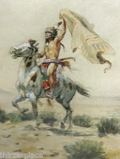 """Charles M. Russell,  Western Art, Native American Print,  """"Indian Singaling"""""""