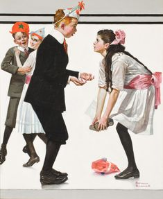 Children Dancing at a Party (Pardon Me), THE SATURDAY EVENING POST, January 26, 1918 (oil on canvas)