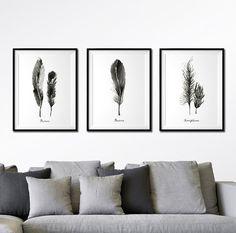Feder Grafik Satz von 3 Drucken, Aquarell-Malerei, Schwarzweiß drucken Feder Kunst, Natur-Grafik, Wohnung Dekor, Wanddekoration