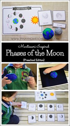 Preschool life cycle of the moon for Montessori learning at home. Moon Activities, 3 Year Old Activities, Space Activities, Kids Learning Activities, Science Activities, Montessori Preschool, Montessori Elementary, Montessori Trays, Elementary Teaching