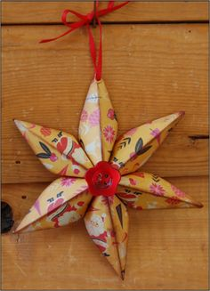 Six point star tutorial.  All from a 6x6 folded piece of paper!