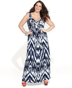 INC International Concepts Plus Size Dress, Sleeveless Surplice Printed Maxi - Plus Size Dresses - Plus Sizes - Macy's