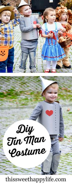 Instructions for a DIY tin man costume from the Wizard of Oz for Halloween. The perfect compliment to a little Dorothy, Scarecrow and Lion.