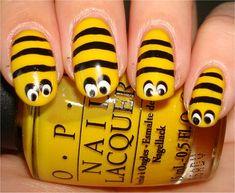 Halloween Honeybee Nails Tutorial (glue on craft googly eyes after your top coat & it's even easier & cuter)