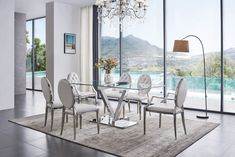 ESF Furniture ZZ III Contemporary tempered glass top dining table Great for modern furniture Contemporary Dining Room Furniture, Glass Furniture, Modern Furniture, White Leather Chair, Glass Top Dining Table, Dining Room Sets, Awesome Bedrooms, House Colors, Chairs