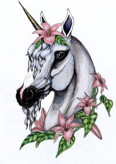 unicorn Tattoos | flowered unicorn in color by ~SpottedPegasus on deviantART