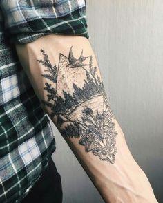 Beautiful nature scene tattoo on the left forearm Yg Tattoos, Black Tattoos, Body Art Tattoos, Tattoos For Guys, Cool Tattoos, Tatoos, Cool Half Sleeve Tattoos, Picture Tattoos, Geometric Dotwork Tattoo