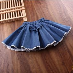 2017 Spring Autumn Summer Girl Skirt Girls Skirts Bow Lace Denim Children For Girls Fantasia Tutus Baby Saia Cake Tutu Baby Skirt, Baby Dress, Little Girl Dresses, Girls Dresses, Girl Skirts, Dress Designs For Girls, Skirts For Kids, Mode Inspiration, Skirt Fashion