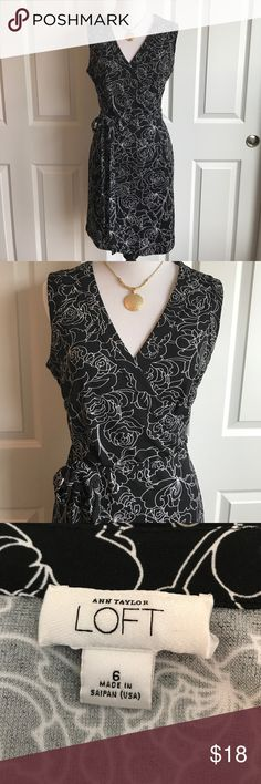 "❤️HOST PICK❤️ Ann Taylor Loft Wrap Dress Ann Taylor Loft. Wrap dress. Sleeveless. Size 6. Black and white ""peony"" floral print. Total length is 32"". ❤️❤️HOST PICK for Best in Dresses & Skirts on 11/12/17!❤️❤️ LOFT Dresses Midi"