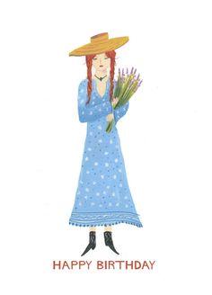 Happy Birthday Flower Girl Card Red Head Girl by HutchCassidy
