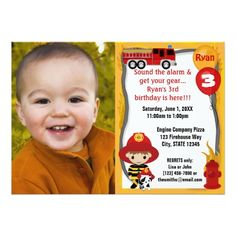Trucks Birthday Party Invitations Fire Truck Firefighter Dalmatian Birthday FFP01A Card