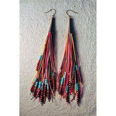 Feather Fringe Earrings RedMulti by Amira Jewelry