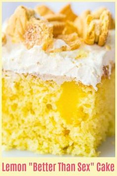 Lemon Better Than Sex Cake With Lemon, Lemon Pudding, Cream, Frozen Whipped Topping Desserts Lemon Better Than Sex Cake Recipe 13 Desserts, Delicious Desserts, Easy Lemon Desserts, Lemon Dessert Recipes, Small Lemon Cake Recipe, Easy Lemon Cake, Dinner Recipes, Better Than Sex Cake Recipe, Better Than Anything Cake