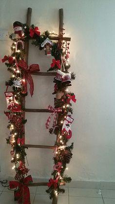 Christmasdecoration, woodenladder, DIY