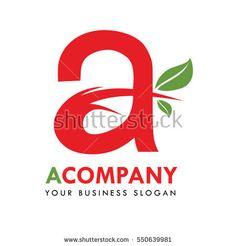 Letter A Company Logo Design Vector With leaf Illustration