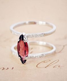 Attelage Garnet Ring by Anna Sheffield Jewelry Box, Jewelry Rings, Jewelry Accessories, Fine Jewelry, Jewelry Design, Garnet Jewelry, Garnet Rings, Diamond Are A Girls Best Friend, Modern Jewelry