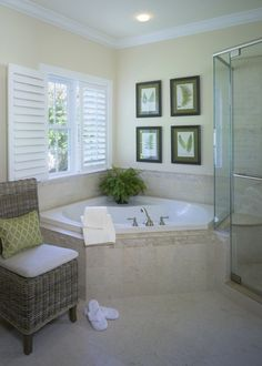 corner tub - bench seat in shower...shutters on the window!