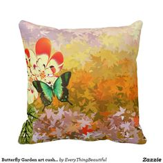 Butterfly Garden art cushion and Throw Pillow This couch cushion is great for present.It has a pair of abstract butterflies on it with a lot of tiny small leaves all over it. yellow and orange.Get creative Click the Customize It button to add your own text or images to create a unique one of a kind design! Get creative