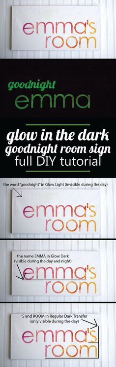 DIY this amazing glow in the dark sign for your kiddos room. They will love watching the magic happen!