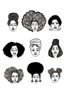 Nappily Ever After: Black Muslim Women and the Natural Hair Conversation - LAPP. Black Girl Art, Black Art, Black Girl Magic, Art Girl, African American Art, African Art, Natural Hair Art, Natural Hair Styles, Black Power Desenho