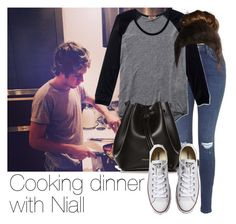 """Cooking dinner with Niall"" by style-with-one-direction ❤ liked on Polyvore featuring Topshop, Wilfred, Rachael Ruddick, Converse, OneDirection, 1d, NiallHoran and niall horan one direction 1d"