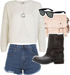 Untitled #4137 by florencia95 featuring ray ban sunglassesZara high waisted shorts / River Island crewneck sweater, $46 / Zara ankle boots booties / Topshop cross body / Elsa Peretti sterling silver jewellery / Ray-Ban ray ban sunglasses
