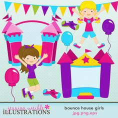Bounce House Girls comes with 10 graphics including: 2 inflatable bounce houses, 2 jumping girls, 3 balloons, 2 pairs of shoes and a banner.    Graphics are made in High Quality 300 dpi and come in JPG, PNG & EPS format.