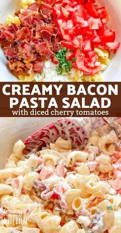Salad Recipes With Bacon, Tomato Salad Recipes, Easy Pasta Salad Recipe, Bacon Salad, Bacon Recipes, Side Recipes, Pasta Recipes, Tortellini Recipes, Bacon Tomato Pasta