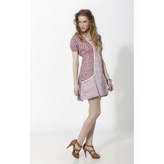 Vestido corto combinando dos estampados florales tipo liberty separado por puntillas Rosado - Mauna Barcelona - fashion - moda