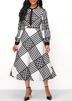 Printed High Waist Button Front Dress, M, Printed High Waist Button Front Dress, , Price: 1920s Fashion Women, Fashion In, White Fashion, Modest Fashion, Women's Fashion Dresses, African Fashion, Sexy Dresses, Beautiful Dresses, Casual Dresses