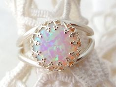 White opal ring, Silver opal ring, Gemstone ring, Opal ring, October birthstone ring, Sterling silver ring, Vintage ring, Multi color ring, by EldorTinaJewelry on Etsy https://www.etsy.com/listing/194251043/white-opal-ring-silver-opal-ring