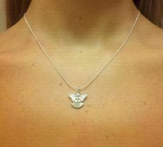 Sterling Silver Pi Beta Phi Angel Charm Necklace by OneSEC on Etsy, $9.00