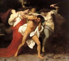 """In Greek mythology the Erinyes or Eumenides (the Romans called them the Furies) were female personifications of vengeance. They were usually said to have been born from the blood of Uranus when Cronus castrated him. According to a variant account, they were born from Nyx. Their number is usually left indeterminate, though Virgil, probably working from an Alexandrian source, recognized three: Alecto (""""unceasing""""), Megaera (""""grudging""""), and Tisiphone (""""avenging murder""""). The heads of the…"""