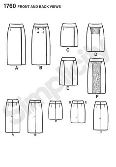 another pencil skirt pattern - I like views A & B
