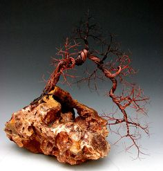 Recycled copper wire tree sculpture by Omer Huremovic