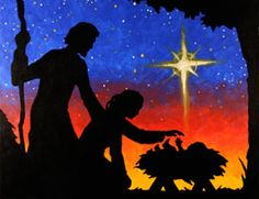 Nativity Silhouette canvas painting party design for Christmas.