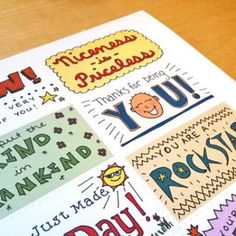 These colorful cards all carry words of encouragement that are perfect for your child's lunchbox or to leave anonymously as an act of kindness on your coworkers desk.