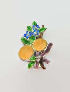 Enamel Floral Brooch Antique Oranges & by baublology on Etsy