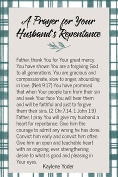 A Prayer for Your Husband's Repentance