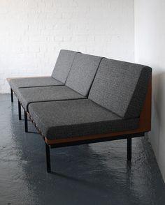 Robin Day; Teak and Enameled Steel 'Form' Sofa for Hille, 1960.