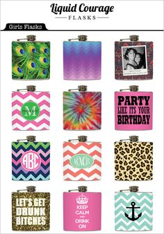 Girly Flask Collection from Liquid Courage Flasks - Perfect for the bridesmaids!