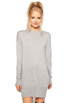 minimal gray sweater dress