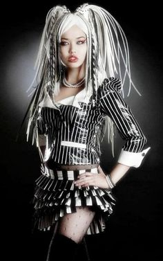 Angelspit in her #Cyberpunk black and white