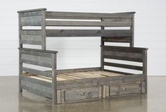 Summit Grey Twin Over Full Bunk Bed With Underbed Storage Teen Bunk Beds, Dog Bunk Beds, Bunk Beds For Girls Room, Bunk Bed With Trundle, Bunk Beds With Stairs, Under Bed Storage, Diy Storage, Storage Ideas, Full Size Bunk Beds