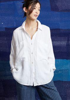 969ac61e55f183 Organic Linen Tencel Crepe Boxy Shirt. Organic Linen Delave Pinstripe  Cropped Wide-Leg Pant