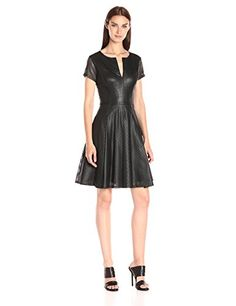 BCBGMAXAZRIA Womens Karlie Perforated Pleated Dress Black 4 -- Continue to the product at the image link.(This is an Amazon affiliate link)